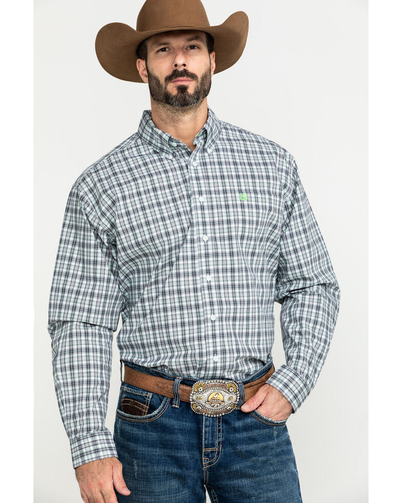 Cinch Men's White Small Plaid Weave Long Sleeve Western Shirt , White, hi-res
