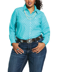 Ariat Women's Western Sky Kirby Stretch Long Sleeve Western Shirt - Plus, Turquoise, hi-res