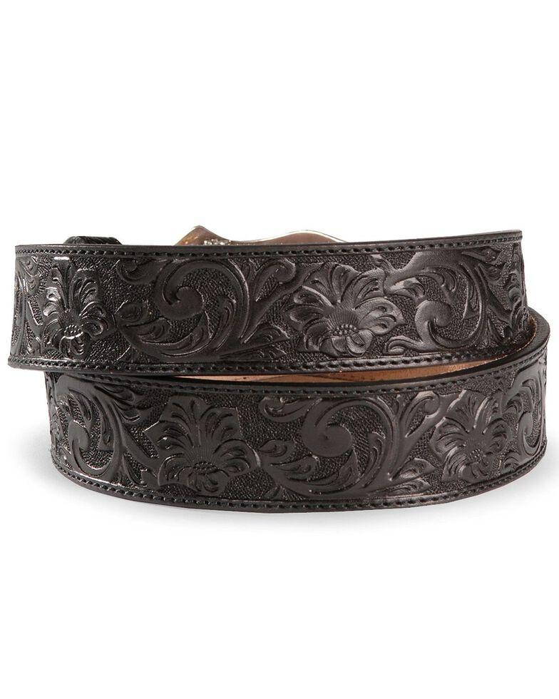 Justin Men's Floral Tooled Leather Belt, Black, hi-res