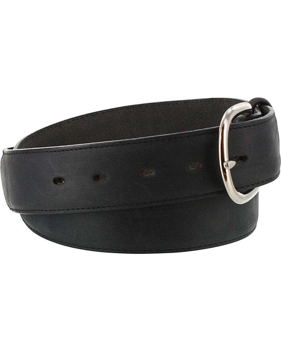 Silver Creek Men's Black Leather Overlay Belt, Black, hi-res