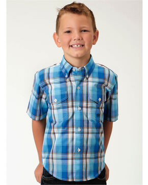Roper Boys' Blue Amarillo Plaid Western Shirt , Blue, hi-res