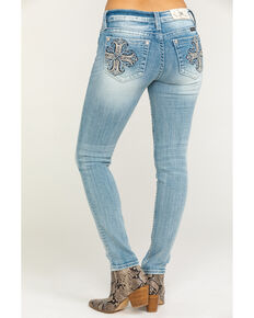 Miss Me Women's Light Wash Cross Skinny Jeans, Blue, hi-res