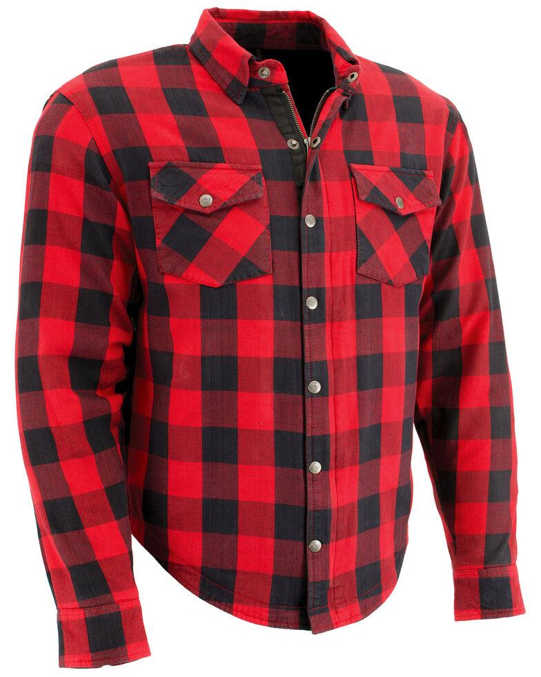 Milwaukee Performance Men's Black/Red Aramid Checkered Flannel Biker Shirt, Black/red, hi-res