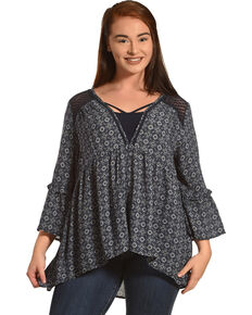 Eyeshadow Women's Navy Print Crochet Shoulder Peasant Top - Plus, Navy, hi-res