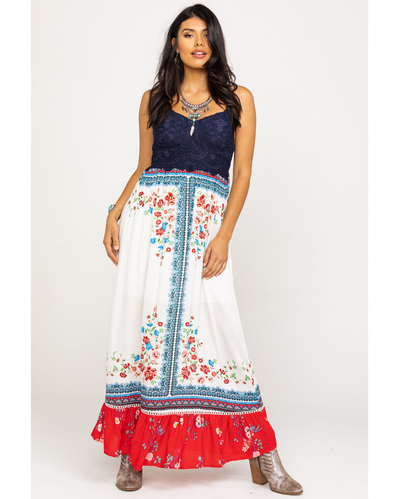 Coco + Jaimeson Women's Americana Border Maxi Dress, Red/white/blue, hi-res