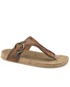 Roper Women's Tan Tooled Turquoise Sandals, Tan, hi-res