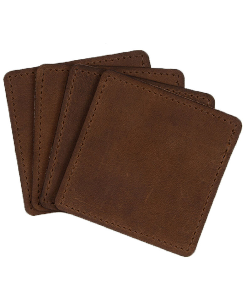 Carroll Co. Square Leather Beverage Coaster - 4 Pack, Brown, hi-res