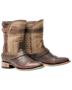 Lane Women's Dustoff Western Booties - Round Toe, Brown, hi-res