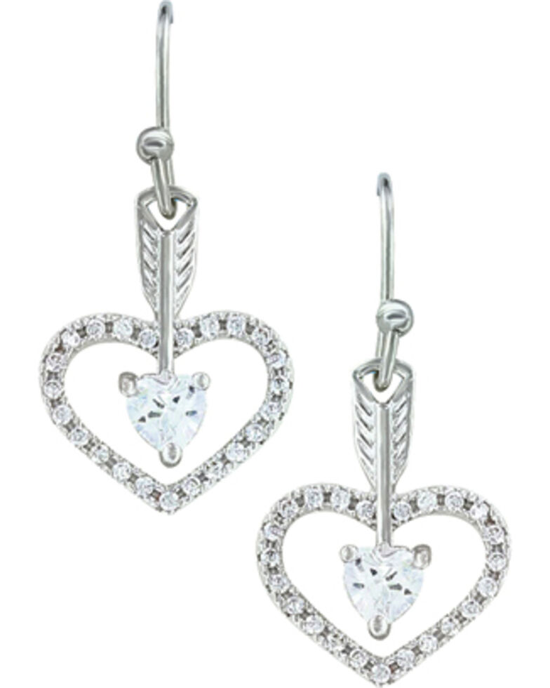 Montana Silversmiths Women's Straight to the Heart Arrow Earrings , Silver, hi-res