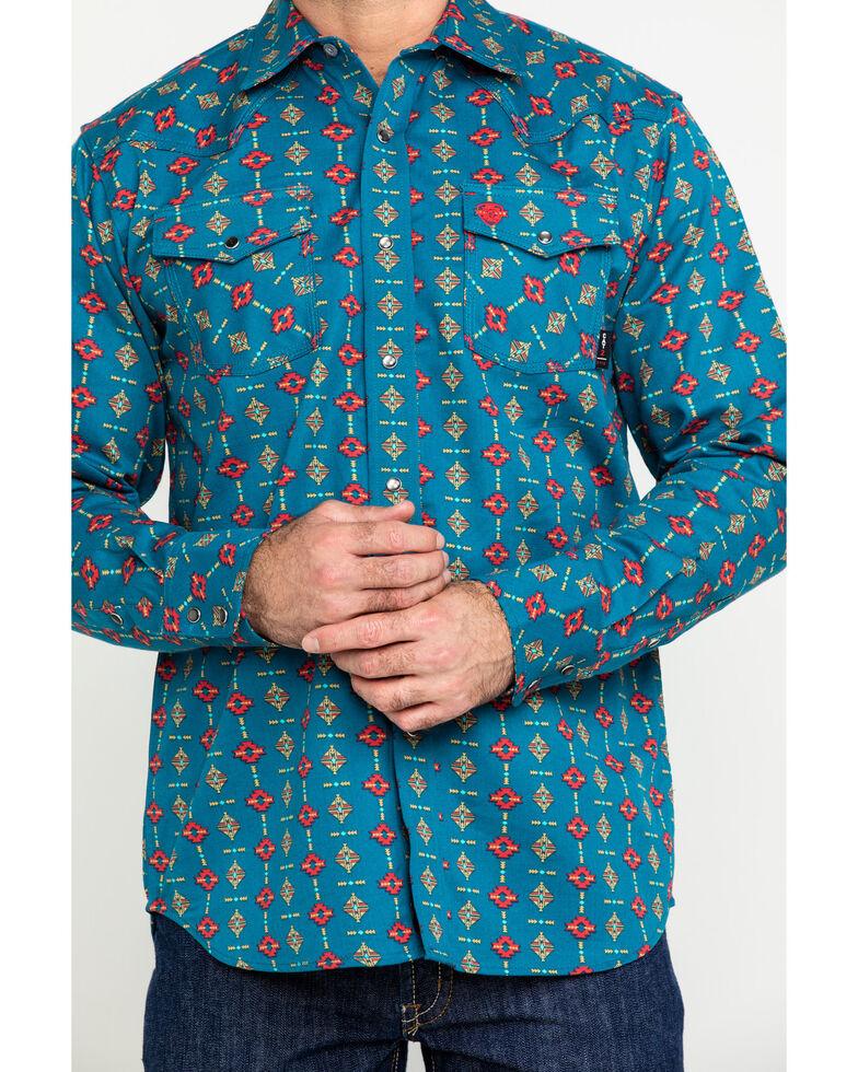 Ariat Men's FR Rio Retro Geo Print Long Sleeve Work Shirt - Big , Blue, hi-res