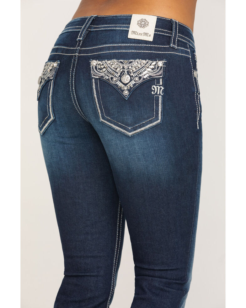 Miss Me Women's Dark Wash Metallic Glitter Glitz Bootcut Jeans , Blue, hi-res