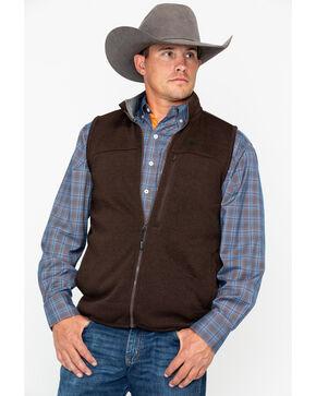George Strait by Wrangler Men's Brown Heather Knit Vest, Brown, hi-res