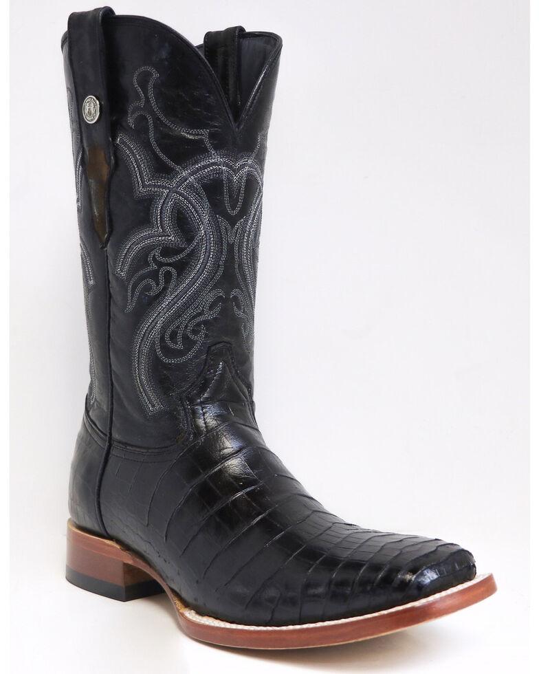 Tanner Mark Men's Gator Belly Print Western Boots - Square Toe, Black, hi-res