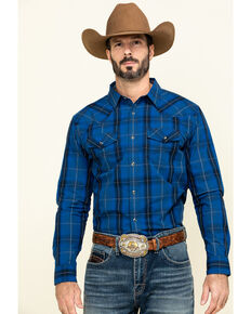 Cody James Men's Skedaddle Plaid Long Sleeve Western Shirt - Big , Royal Blue, hi-res