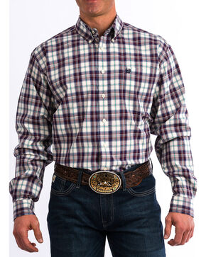 Cinch Men's Wine Plaid Long Sleeve Button Down Western Shirt, Wine, hi-res