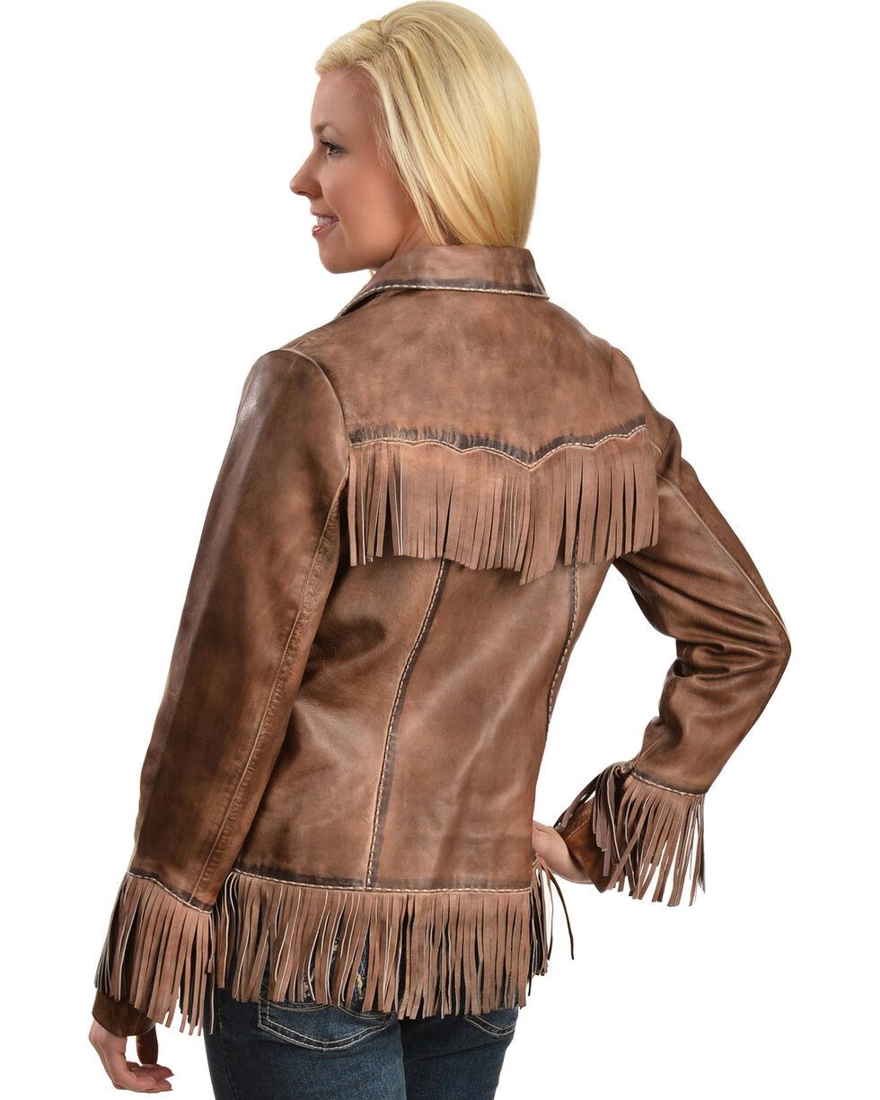 Scully Women's Fringe Lamb Jacket, Brown, hi-res