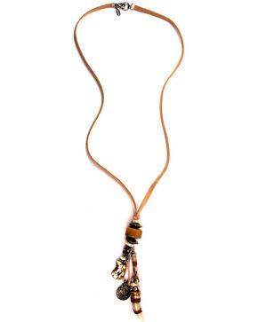Treska Women's Long Corded Bear Tooth Pendant Necklace, Tan, hi-res