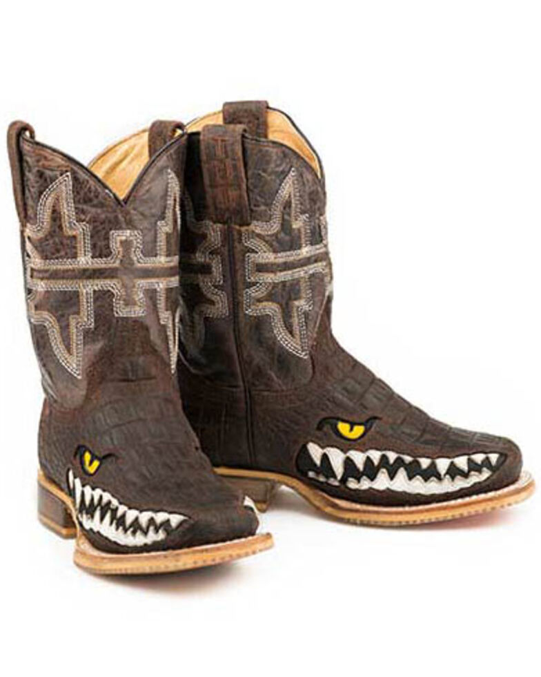 Tin Haul Boys' Swamp Chomp Western Boots - Square Toe, Brown, hi-res