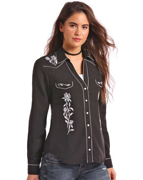 Panhandle Women's White Piping Embroidered Long Sleeve Western Shirt, Black, hi-res