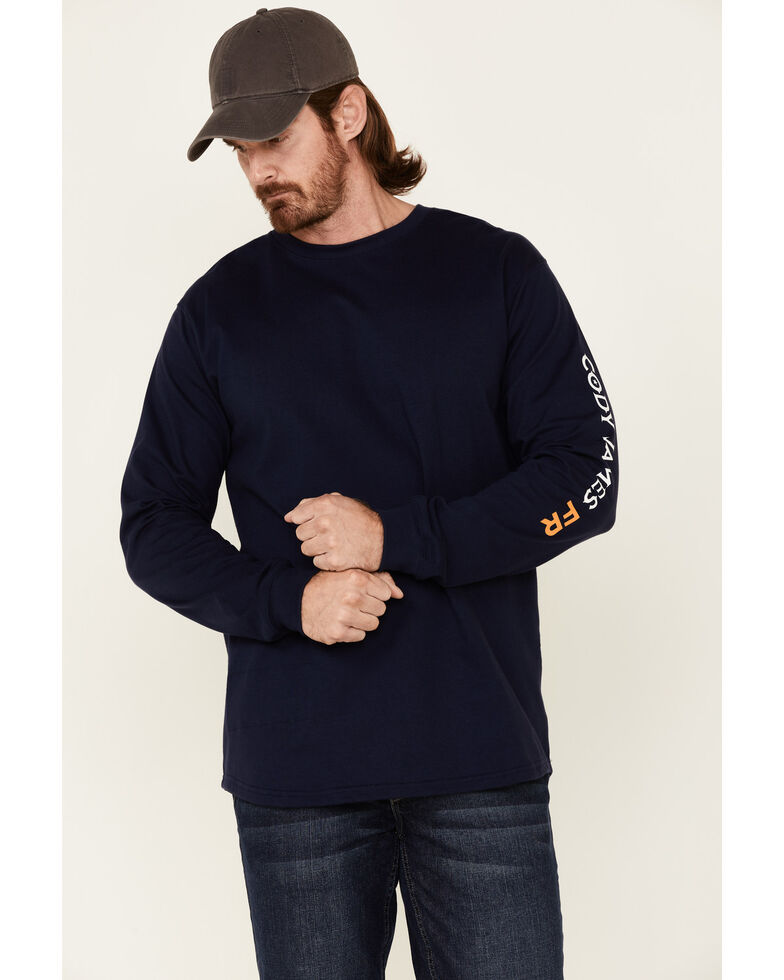 Cody James Men's Indigo FR Logo Long Sleeve Work T-Shirt , Indigo, hi-res