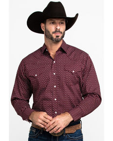 Ely Cattleman Men's Assorted Burgundy Geo Print Long Sleeve Western Shirt  , Multi, hi-res