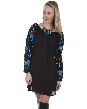 Honey Creek by Scully Women's Embroidered Long Sleeve Dress, Black, hi-res