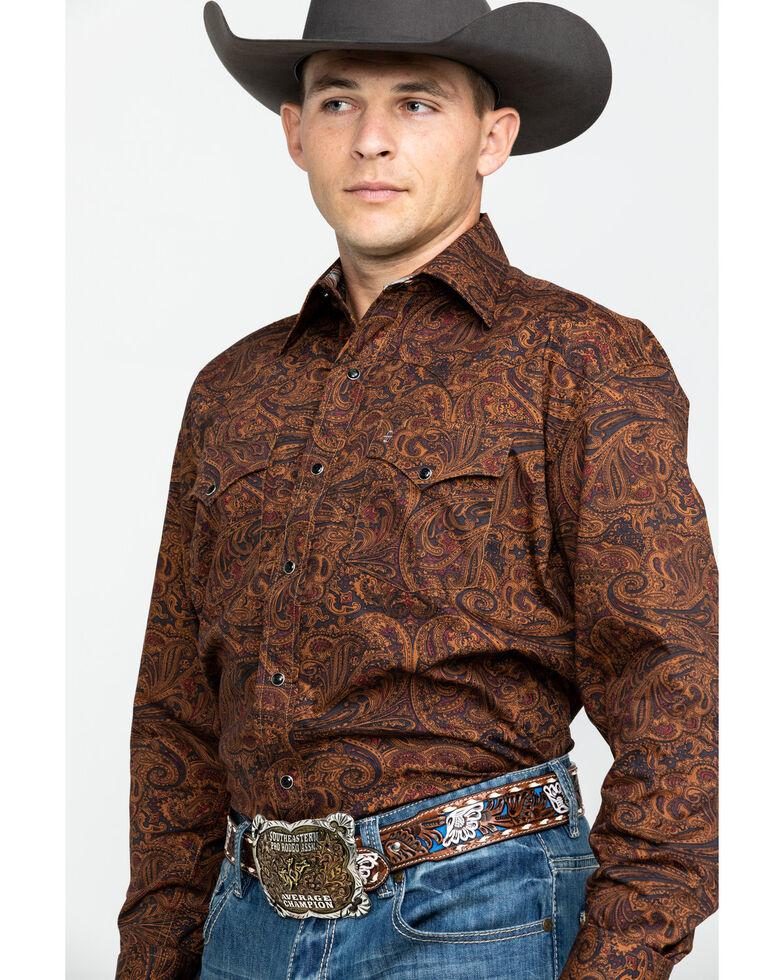 Stetson Men's Saddle Paisley Print Long Sleeve Western Shirt , Brown, hi-res