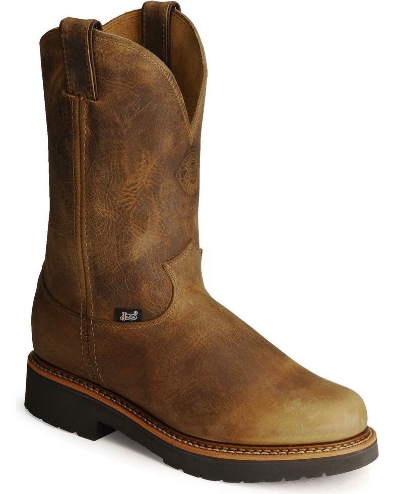 Justin Men's J-Max Blueprint Bay Gaucho EH Pull-On Work Boots - Soft Toe, Tan, hi-res