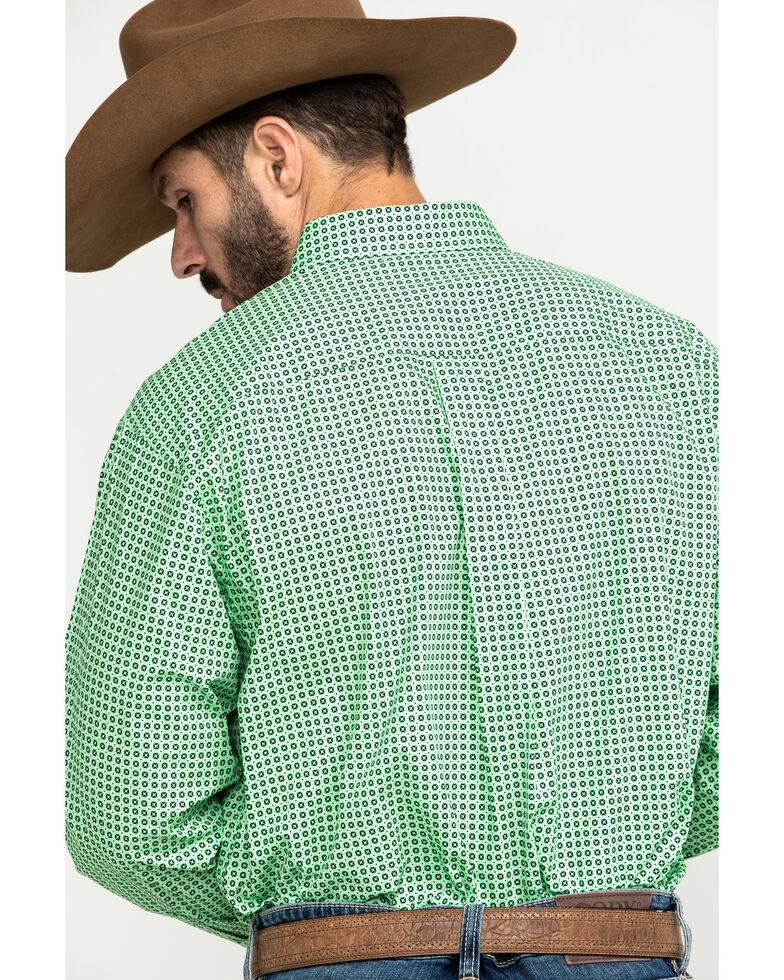 Cinch Men's Green Small Square Geo Print Button Long Sleeve Western Shirt , Green, hi-res