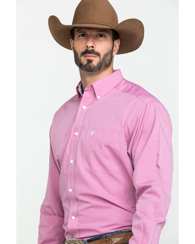 Ariat Men's Wrinkle Free Solid Pinpoint Oxford Long Sleeve Western Shirt - Big , Pink, hi-res