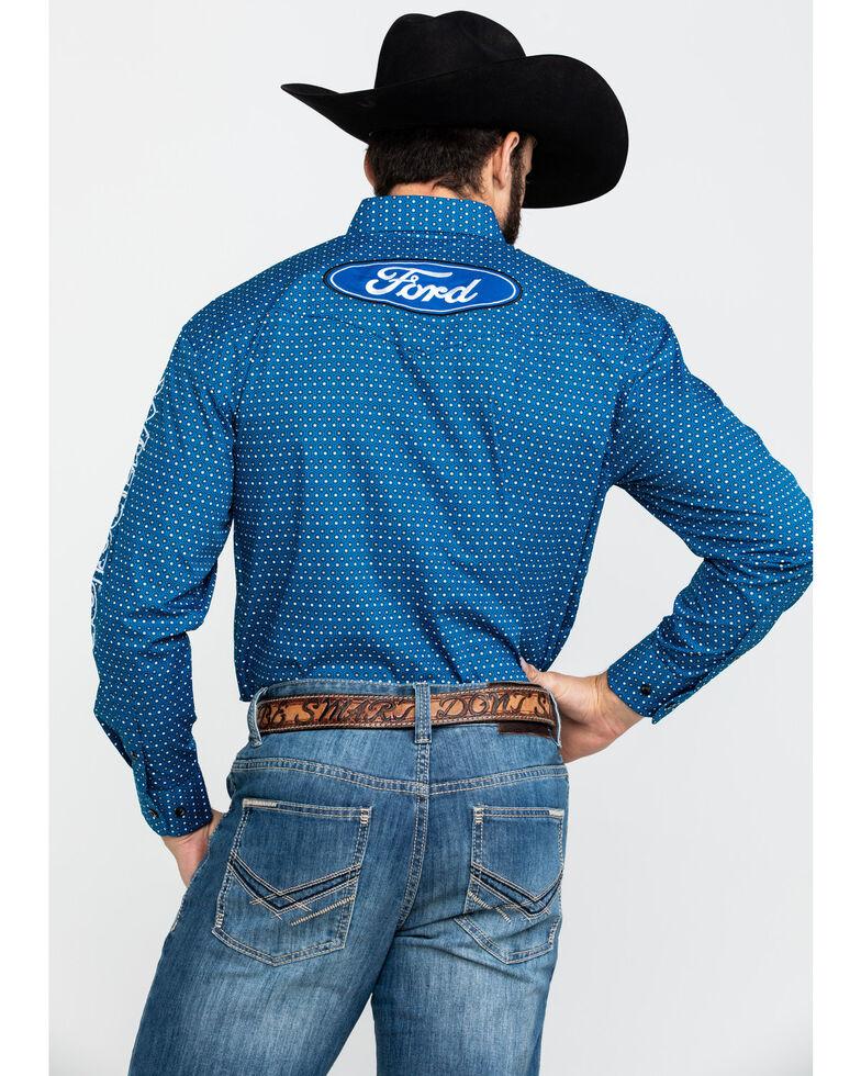 Wrangler Men's Royal Blue Ford Logo Print Long Sleeve Western Shirt , Blue, hi-res