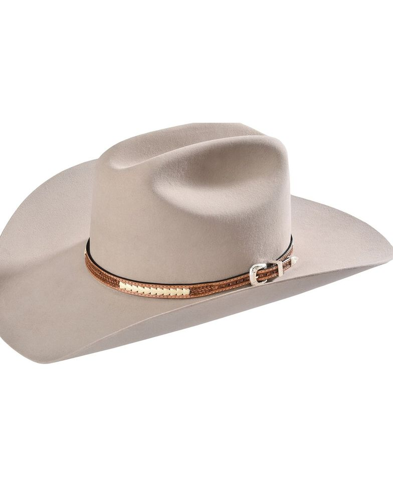 Stitched Basketweave Leather Hat Band, , hi-res