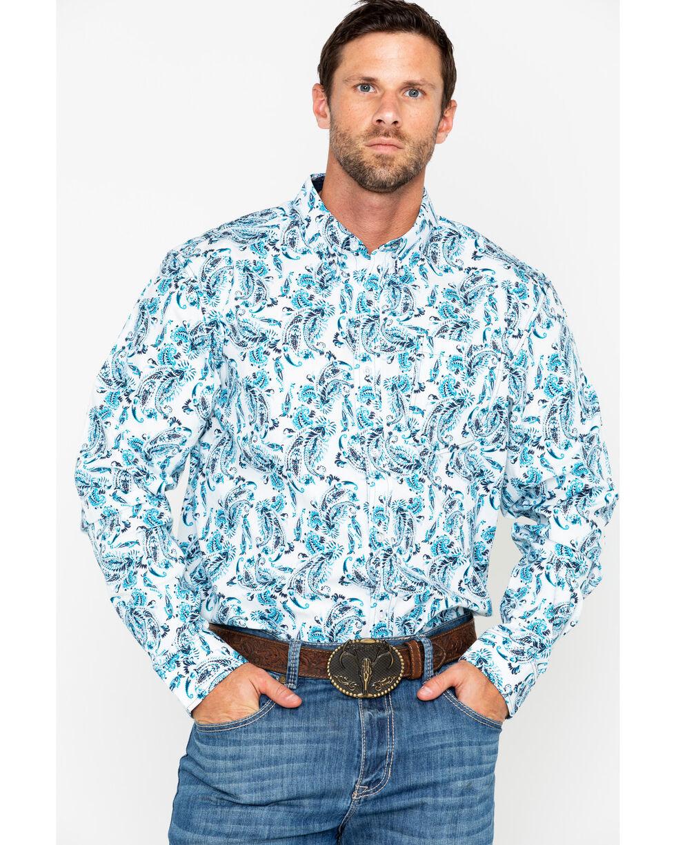 Cody James Men's Peacock Paisley Long Sleeve Western Shirt, White, hi-res