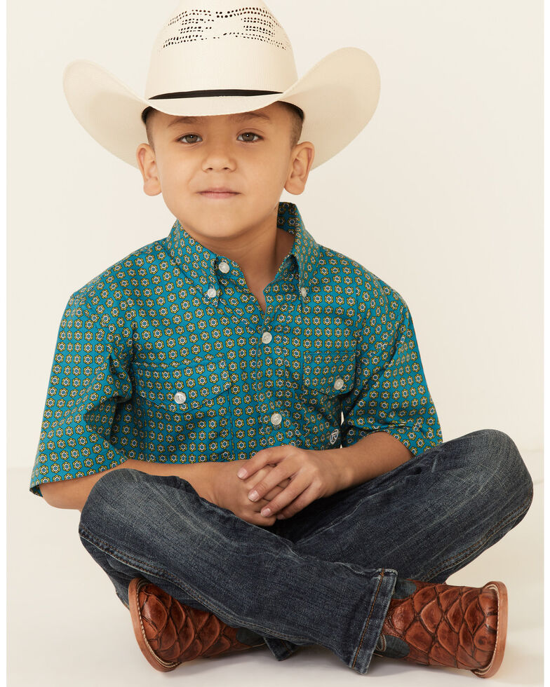 Amarillo Boys' Sweet Water Teal Geo Print Short Sleeve Button-Down Western Shirt , Teal, hi-res