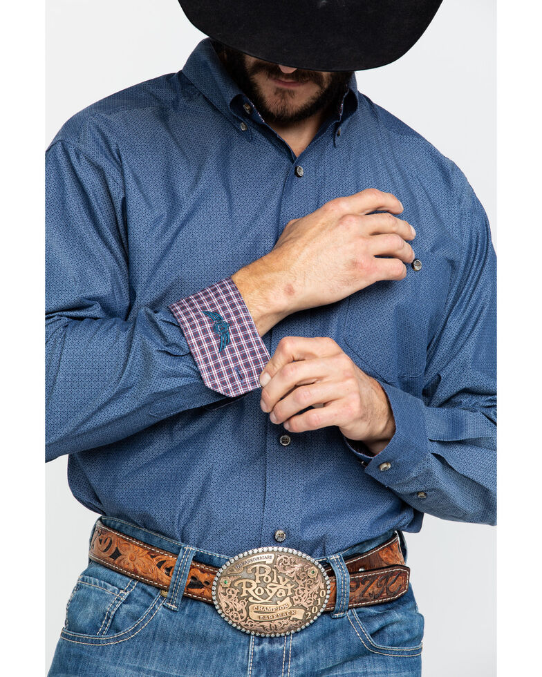 Ariat Men's Explode Geo Print Long Sleeve Western Shirt , Navy, hi-res