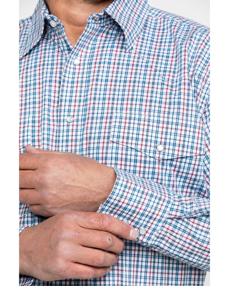 Wrangler Men's Wrinkle Resist Mini Check Plaid Long Sleeve Western Shirt , Blue/red, hi-res