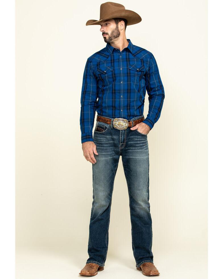 Cody James Men's Skedaddle Plaid Long Sleeve Western Shirt , Royal Blue, hi-res