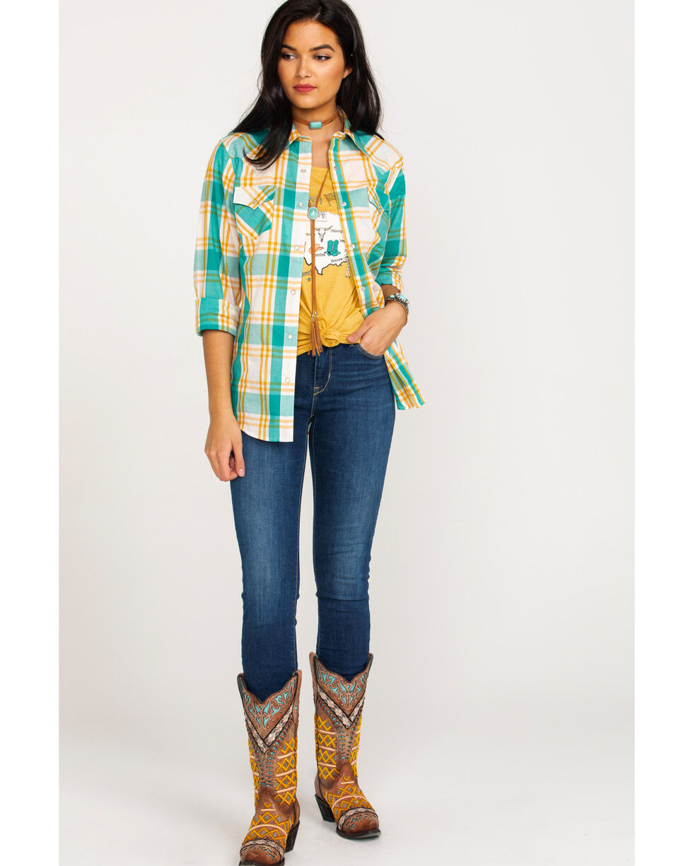 Wrangler Women's Multi Plaid Core Long Sleeve Western Shirt , Dark Yellow, hi-res