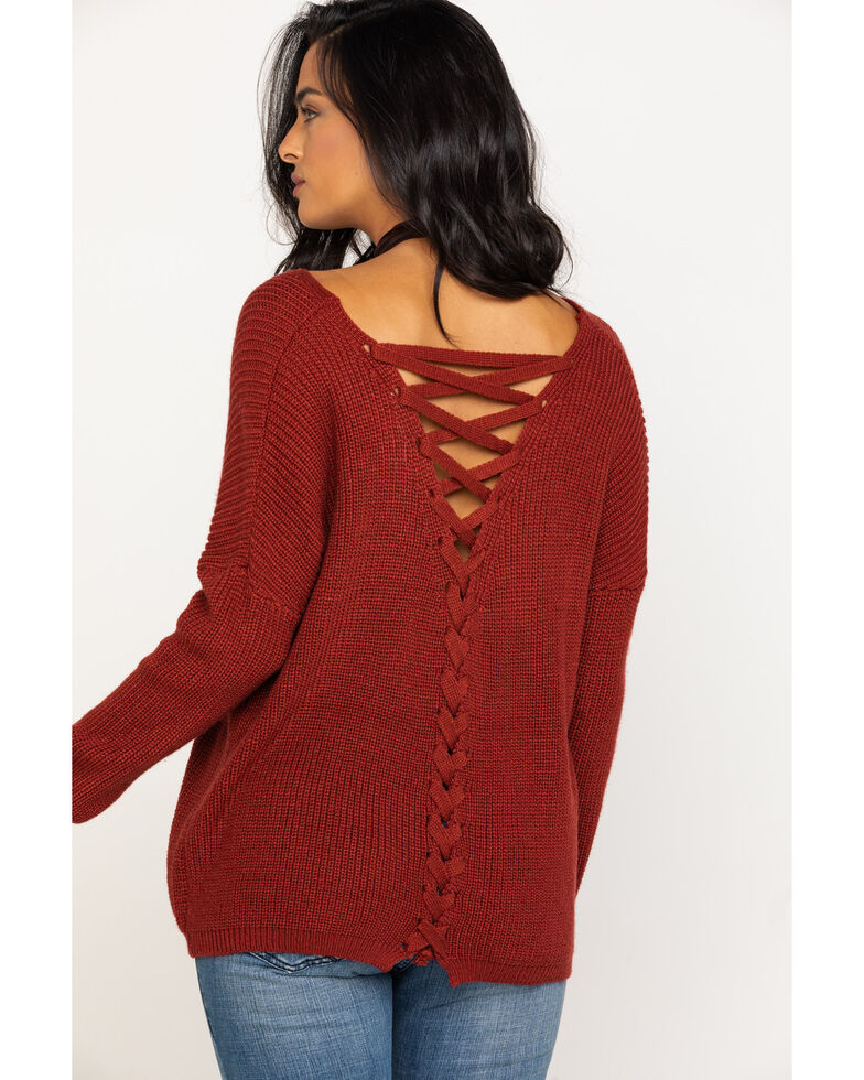 Rock & Roll Cowgirl Women's Rust Lace Up Back Sweater, Rust Copper, hi-res