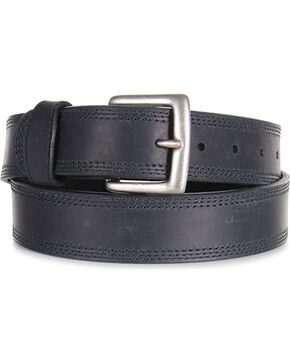 American Worker® Men's Triple Stitch Leather Western Belt, Black, hi-res