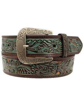 Ariat Women's Floral Western Belt, Brown, hi-res