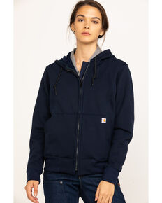 Carhartt Women's FR Rain Defender Hooded Heavyweight Zip Sweatshirt, Navy, hi-res