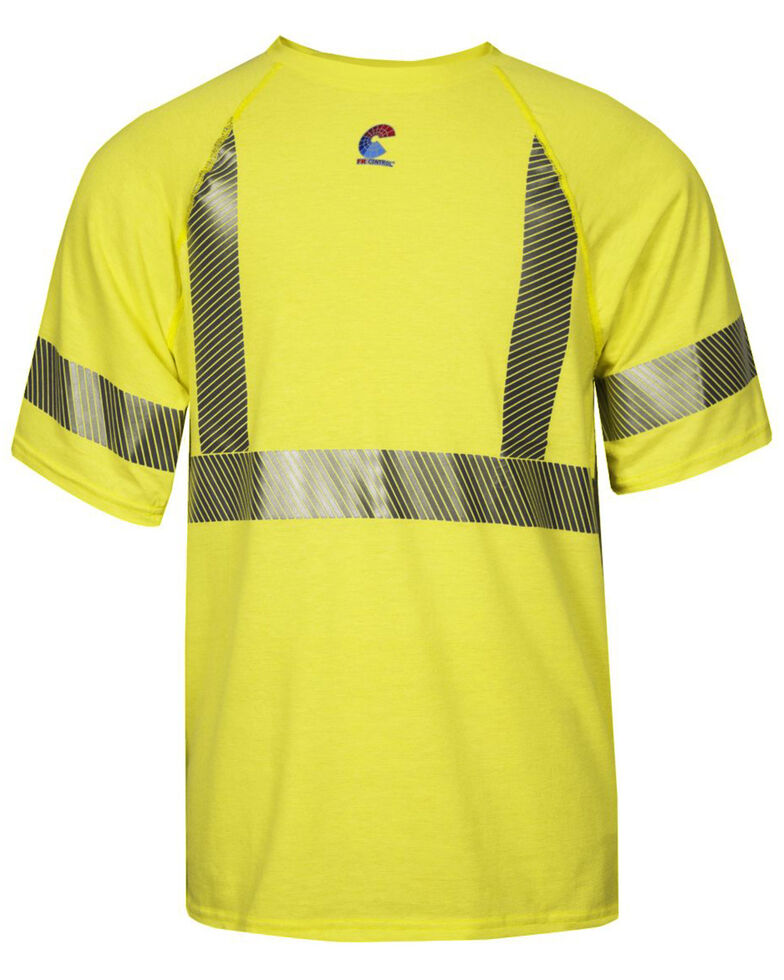 National Safety Apparel Men's Hi-Vis FR Control 2.0 Type R Class 2 Short Sleeve Shirt , Bright Yellow, hi-res