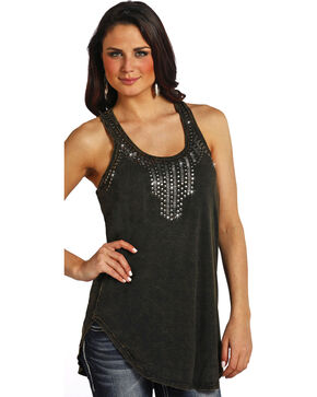Rock & Roll Cowgirl Women's Studded Tunic Tank Top, Black, hi-res