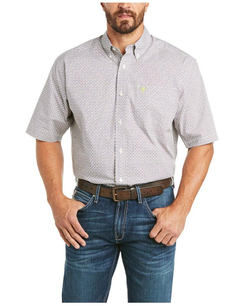 Ariat Men's Castello Small Geo Print Short Sleeve Button-Down Western Shirt , White, hi-res
