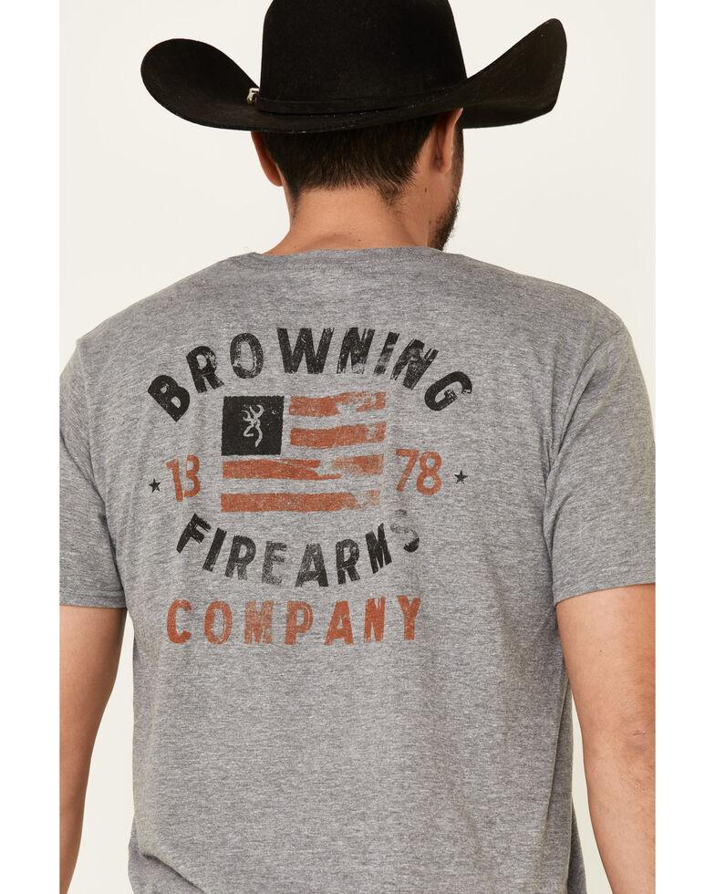 Browning Men's Grey Flag Logo Graphic T-Shirt , Grey, hi-res
