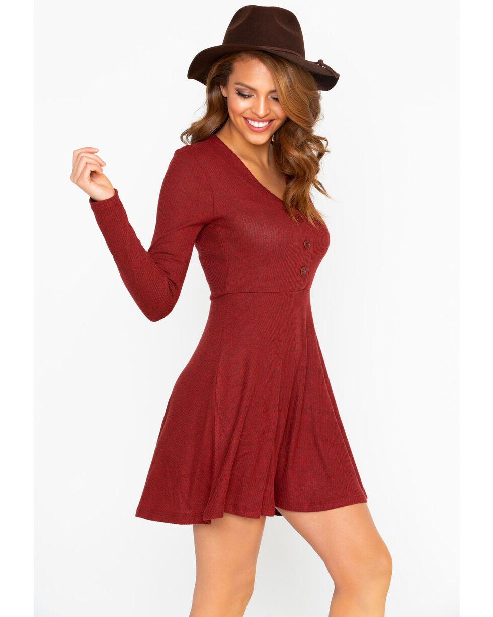 Others Follow Women's Ribbed Knit Button Front Dress , Burgundy, hi-res