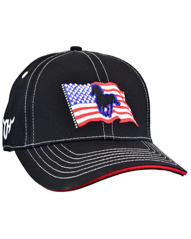 Cowgirl Hardware Women's Black Wavy Flag Pony Patch Ball Cap , Black, hi-res