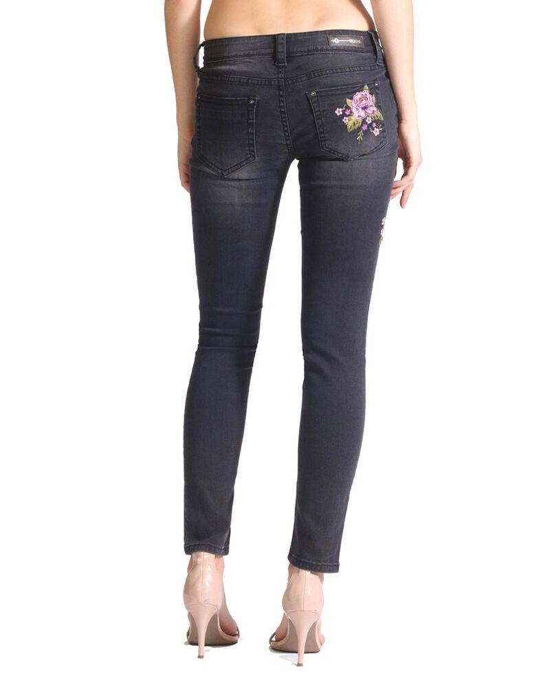 Grace In LA Women's Floral Pocket Hip Embroidered Skinny Jeans , Black, hi-res