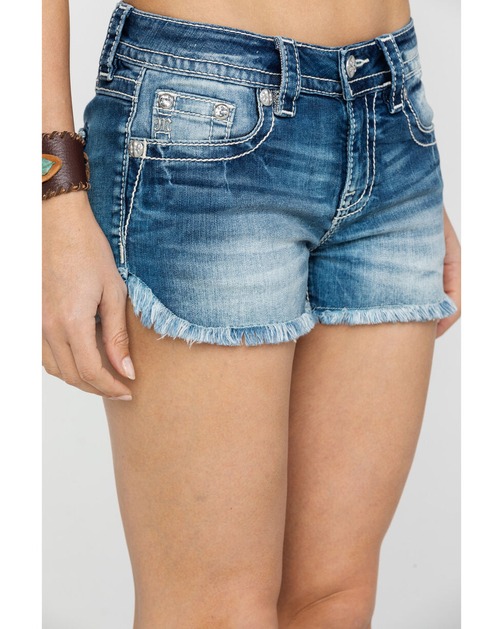 Miss Me Women's Light Floral Rhinestone Shorts, Blue, hi-res